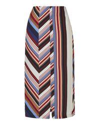 TOPSHOP | Multicolor Deckchair Split Midi Skirt | Lyst