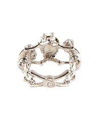 Alexander McQueen | Metallic Double-Skeleton Crystal Ring | Lyst