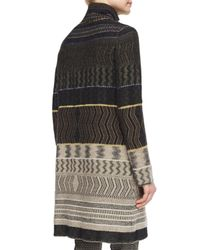 Etro - Gray Patchwork Cashmere-blend Zigzag-print Sweater Coat - Lyst