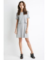 Forever 21 | Gray Layered Cutout T-shirt Dress | Lyst