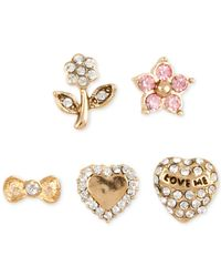 Betsey Johnson | Metallic Gold-tone Five-stud Earring Set | Lyst
