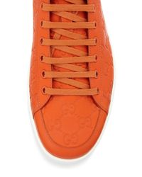 Gucci - Orange Brooklyn Ssima Hightop Sneaker for Men - Lyst
