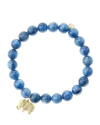 Sydney Evan - Blue 8Mm Kyanite Beaded Bracelet With 14K Gold/Diamond Small Elephant Charm (Made To Order) - Lyst