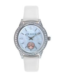 Ted Baker | Metallic 'vintage Glam' Crystal Bezel Leather Strap Watch | Lyst