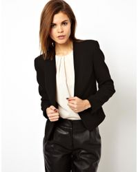 ASOS | Black Cropped Blazer With Clean Lapel | Lyst