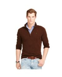 Polo Ralph Lauren | Brown Wool Half-zip Sweater for Men | Lyst