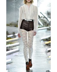 Rodarte - Off-White Lace Blouse With Ruffle Trim - Lyst