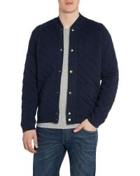 Lee Jeans   Blue Long Sve Quilted Sweat Bomber Jacket for Men   Lyst