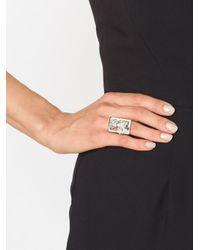Alexander McQueen - White Framed Poppy Ring - Lyst
