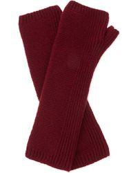 Johnstons - Purple Fingerless Long Cashmere Gloves, Women's, Maroon - Lyst