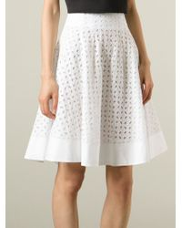 Ermanno Scervino - White Cut-Out Flower Patterned Skirt - Lyst