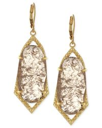 Vince Camuto | Metallic Gold-tone Crackle Stone Drop Earrings | Lyst