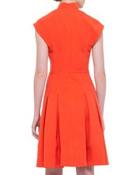 Akris - Orange Split-neck Silk Shantung Dress - Lyst