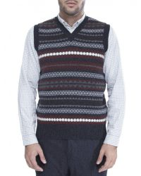 Jules B - Gray Lambswool Vneck Fair Isle Slipover for Men - Lyst