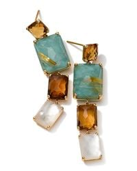 Ippolita - Multicolor 18K Gold Rock Candy Gelato Rectangular 4-Stone Linear Drop Earrings - Lyst