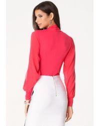 Bebe - Pink Silk Wrap Bodysuit - Lyst