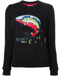 KENZO | Black Fish Embroidery Sweatshirt | Lyst