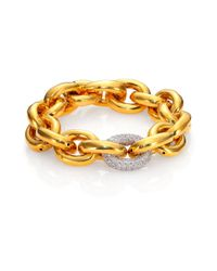 Eddie Borgo - Metallic Single Pave Link Bracelet/goldtone - Lyst