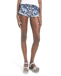 Glamorous - Blue Embroidered Stretch-Denim Shorts - Lyst