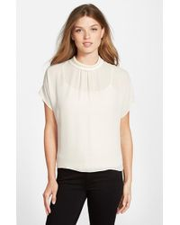 Vince Camuto | White Mock Neck Blouse | Lyst