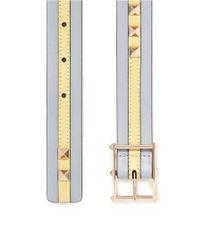 Valentino - Blue 'Rockstud' Colourblock Stripe Leather Belt - Lyst