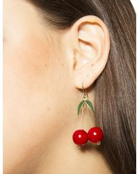 Pixie Market - Red Cherry Bomb Earrings - Lyst