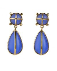 Asha | Ainsley Teardrop Earrings, Blue Onyx | Lyst