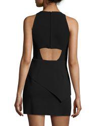 Halston Heritage - Black Tank Dress W/asymmetric Peplum - Lyst