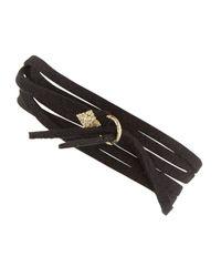 Armenta - Metallic Leather Tie Bracelet With Gold - Lyst