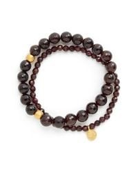 Satya Jewelry - Brown Beaded Stretch Bracelets - Garnet (set Of 2) - Lyst
