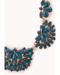 Forever 21 - Blue Elegant Faux Stone Bib Necklace - Lyst