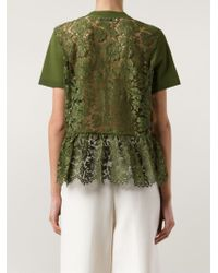 Valentino - Green Lace Back Knit Top - Lyst