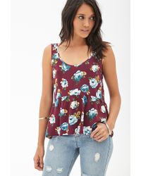 Forever 21 - Purple Flared Scoop Back Top - Lyst