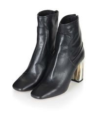 TOPSHOP | Black Muse Bone Heel Boots | Lyst