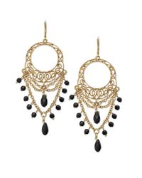 Lauren by Ralph Lauren | Metallic Goldtone Openwork Lace and Jet Bead Chandelier Earrings | Lyst