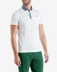 Ted Baker - White Floral Print Collar Polo Shirt for Men - Lyst
