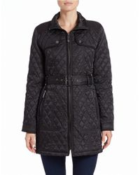 Vince Camuto | Black Quilted Zip-front Coat | Lyst