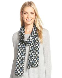 Echo - Black Textured Dots Skinny Silk Scarf - Lyst