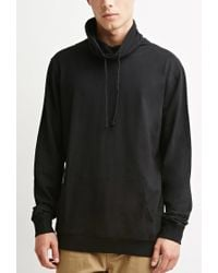 Forever 21 - Black Drawstring Funnel Neck Hoodie for Men - Lyst