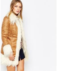 Glamorous | Brown Faux Suede Coat With Shearling Collar | Lyst