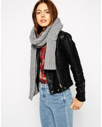 ASOS | Gray Cable Scarf | Lyst