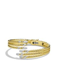 David Yurman - Yellow Willow Open Three-row Bracelet With Diamonds - Lyst