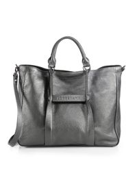 Longchamp - Gray Large Metallic 3d Tote - Lyst