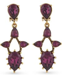 Oscar de la Renta | Purple Ultraviolet Pear Stone Pendant Clip-on Earrings - For Women | Lyst