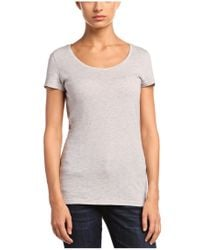 BOSS Orange - Gray Slim-fit T-shirt 'tafame' In Cotton Blend - Lyst