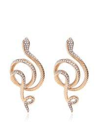 Roberto Cavalli | Metallic Swarovski Serpent Earrings | Lyst