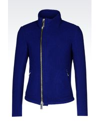 Emporio Armani | Blue Runway Blouson With Knit Effect for Men | Lyst