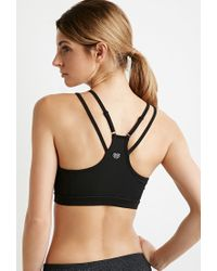 Forever 21 | Black Medium Impact - Center Mesh Strappy Sports Bra | Lyst