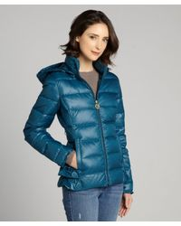 Betsey Johnson - Blue Quilted Down Filled Puffer Coat - Lyst