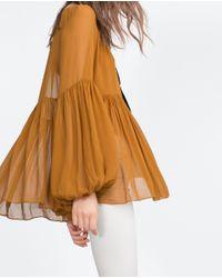Zara | Orange Voluminous Shirt | Lyst